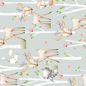 Sweet Woodland Animals ROTATED (frost gray) Deer Fox Raccoon Birch Trees Flowers Baby Girl Nursery Blanket Sheets Bedding B