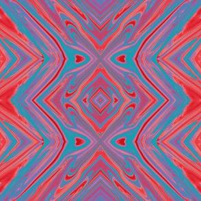 GP3 - XL - Geometric Pillars in  Aqua Purple Red
