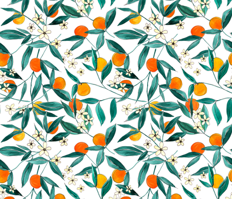 Orange Summer (Smaller Repeat) fabric by joy&ink on Spoonflower - custom fabric