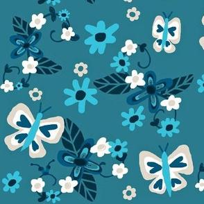 Floral Flutterby Blues / Deep rich blues