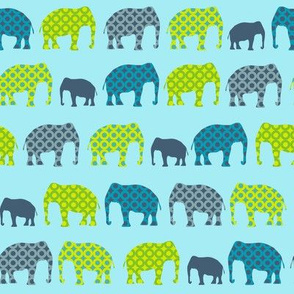 Urban Circus Elephants Blue