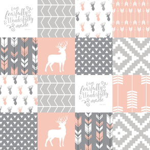 fearfully and wonderfully made - patchwork woodland nursery fabric - salmon peach and grey