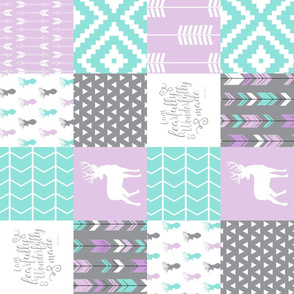 fearfully and wonderfully made patchwork - purple  (buck)  90