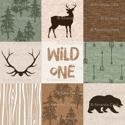 Wild One Quilt (no moose) green and brown