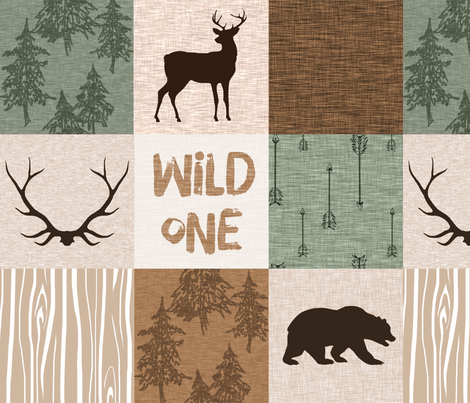 Wild One Quilt (no moose) green and brown fabric by sugarpinedesign on Spoonflower - custom fabric