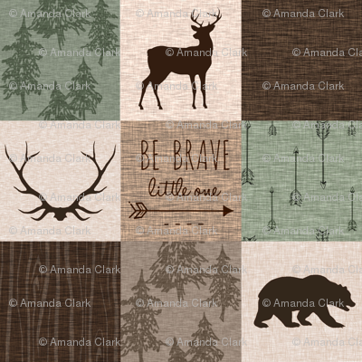 Be Brave Quilt (no moose) - green and brown