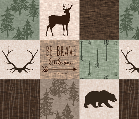 Be Brave Quilt (no moose) - green and brown fabric by sugarpinedesign on Spoonflower - custom fabric