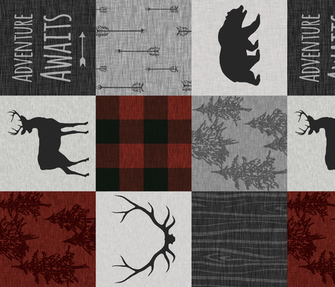 Adventure Awaits Quilt- no moose - Red, Black, grey,  cream - ROTATED  fabric by sugarpinedesign on Spoonflower - custom fabric