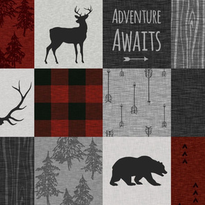 Adventure Awaits Quilt- no moose - Red, Black, grey,  cream