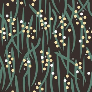 Wattle fabric dark background by Mount Vic and Me