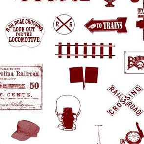 Maroon Railroad Symbols // Large