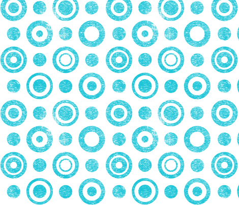 Lino rings - turquoise on white fabric by quirkymundo on Spoonflower - custom fabric