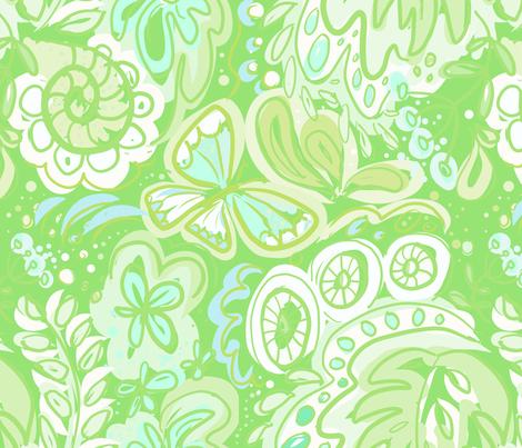 FlowerPower green Odette-Lager fabric by odettel on Spoonflower - custom fabric