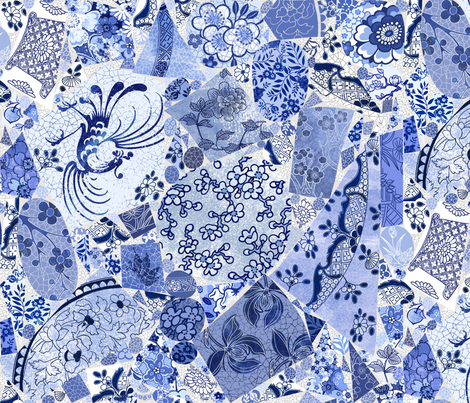 Mod Farm Crockery blue mix fabric by stitchyrichie on Spoonflower - custom fabric