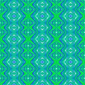 GP6 - Geometric Pillars in Blue - Lime Green - White