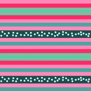 FNB3 - Large Fizz-n-Bubble  Stripes in Pink and Green - Lengthwise