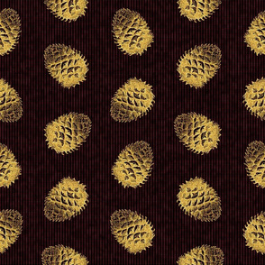 Gold Pinecones with Dark Red Background