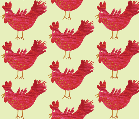 my pinkish rooster fabric by pudding_and_pie_ on Spoonflower - custom fabric