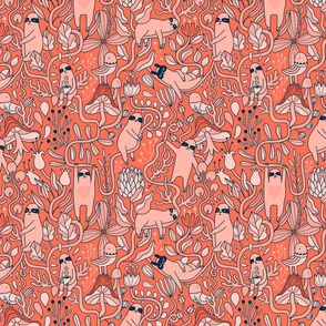 Living coral cute lazy sloths fabric design