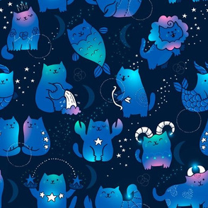 Adorable kawaii zodiacs. Cute astrology cats.