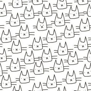 Funny sketch cute cats heads design.
