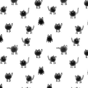 Funny fluffy furr cats polka dots design