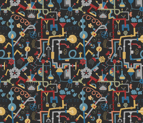 Pipe Dreams - Dark Primary fabric by calobeedoodles on Spoonflower - custom fabric