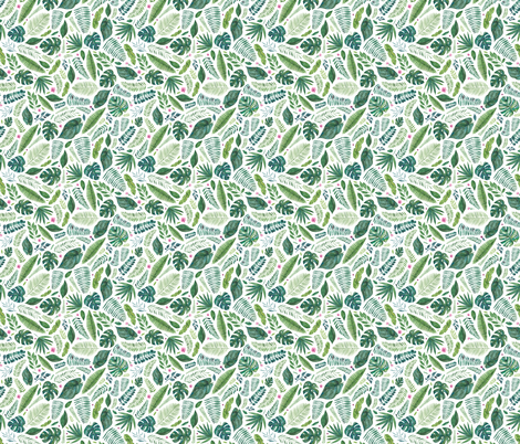 Tropical jungle leaves fabric by elena_o'neill_illustration_ on Spoonflower - custom fabric