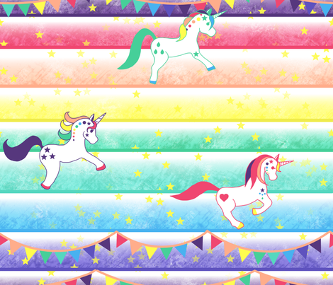 Unicorn race fabric by un_temps_de_coton on Spoonflower - custom fabric