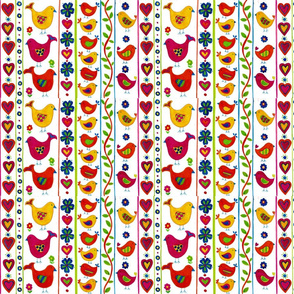 Bird and Flowers Stripe