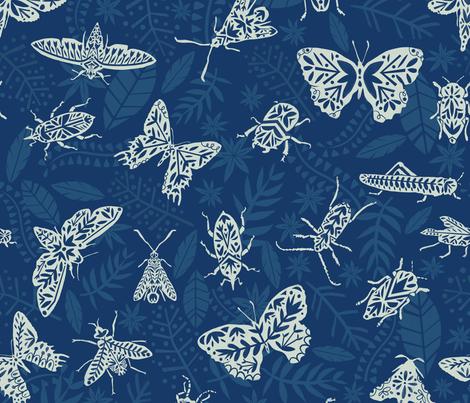 Cyanotype insects fabric by natalia_gonzalez on Spoonflower - custom fabric