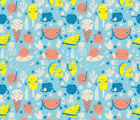 Fruit's and ice cream picnic on the beach fabric by natalia_gonzalez on Spoonflower - custom fabric