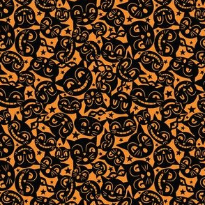 Black Cat Mask on Pumpkin Yellow