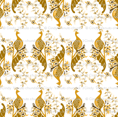 Monochrome Golden Peacock, Peacock Feather, Gold flowers, Regal,  Flock of birds,  White and Gold