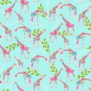 Giraffe & Leaves in colorful splatter