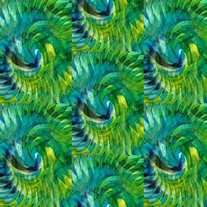 Swirling Blue Greens - Medium