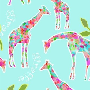 Giraffes & Leaves (larger version)