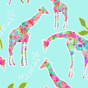 Giraffes & Leaves (larger version)