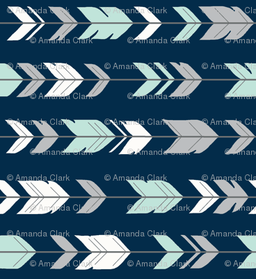 Arrow Feathers- Mint and grey on navy - R