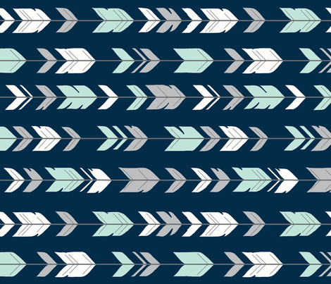 Arrow Feathers- Mint and grey on navy - R fabric by sugarpinedesign on Spoonflower - custom fabric