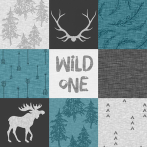 Wild One Quilt - Moose - Teal Black And Grey