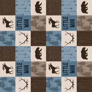 "3"" Little Man Quilt - Blue, Brown, Beige"