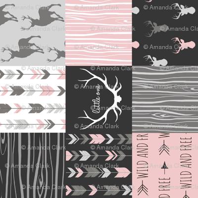 "3"" Patchwork Deer- pink, black and grey"