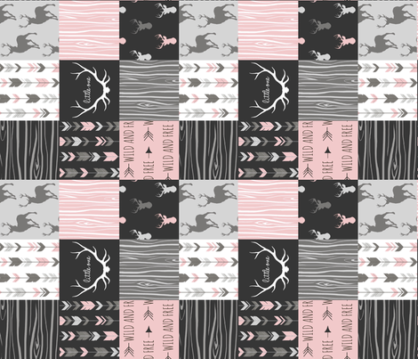 """3"""" Patchwork Deer- pink, black and grey fabric by sugarpinedesign on Spoonflower - custom fabric"""
