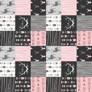 "3"" Patchwork Deer- pink, black and grey"