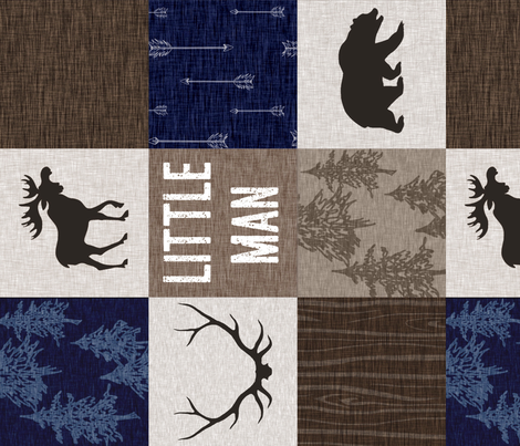Little Man Quilt - Navy, Brown, And tan - ROTATED fabric by sugarpinedesign on Spoonflower - custom fabric