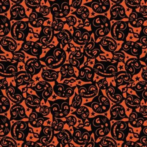 Black Cat Mask on Orange