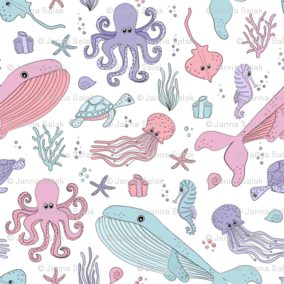 Pastel Ocean Marine Sea Creatures - Cute Octopus Whale Seahorse Sea Turtle