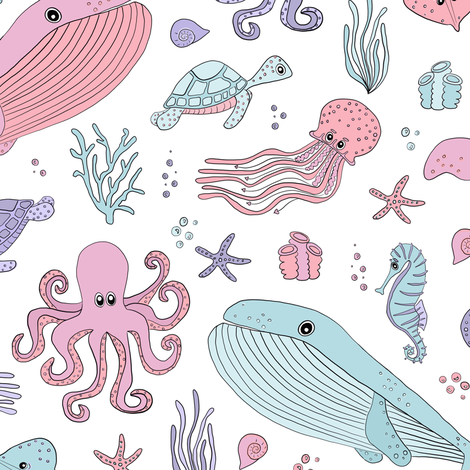 Pastel Ocean Marine Sea Creatures - Cute Octopus Whale Seahorse Sea Turtle fabric by jannasalak on Spoonflower - custom fabric