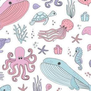 Pastel Ocean Marine Sea Creatures - Cute Octopus Whale Seahorse Sea Turtle